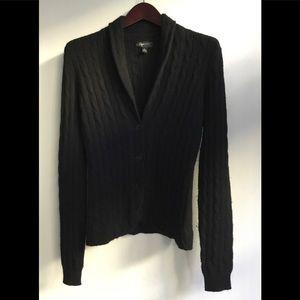 Aqua black cashmere cable cardigan size M